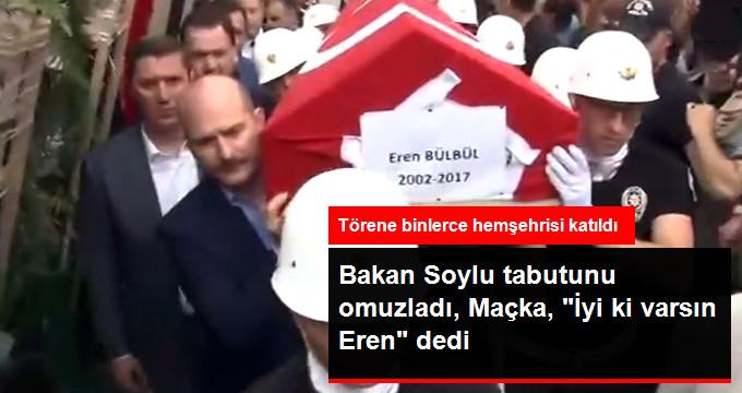 Maçka Şehidi Eren Bülbül'ün Tabutunu İçişleri Bakanı Süleyman Soylu Omuzladı