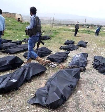 Afrin'de Kan Donduran Görüntü! Kurşuna Dizilmiş 110 Kişinin Cesedinin Olduğu Toplu Mezar Bulundu