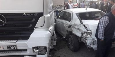 Erzurum'da Feci Kaza! TIR Ve 2 Araç Birbirine Girdi! 3 Kişi Yaralandı