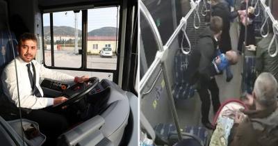 Halk Otobüsünde Yüreklerin Ağza Geldiği Anlar! Dili Boğazına Kaçan Minik Bebeğin Hayatını Otobüs Şoförü Kurtardı