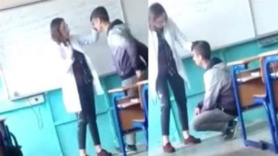 Kadın Öğretmenden Utandıran Dayak! Diz Çöktürdüğü Öğrencisini Evire Çevire Dövdü